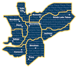 A map of all counties serviced by Visions In Education