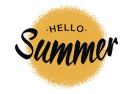 Black Vector Lettering Hello Summer with yellow sun