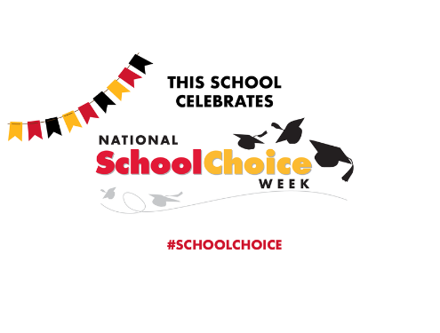 This School Celebrates National School Choice Week badge with grad caps and flags