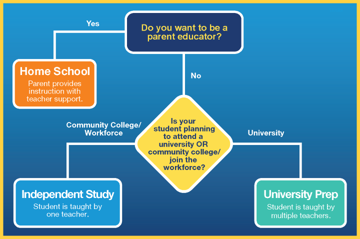 Visions In Education high school options flowchart includes independent study, university prep and home school high school