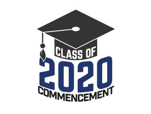 Class of 2020 Commencement text overlaid grad cap image