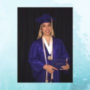 Linda Graduate Spotlight female online high school graduate smiles at camera in blue cap and gown holding diploma