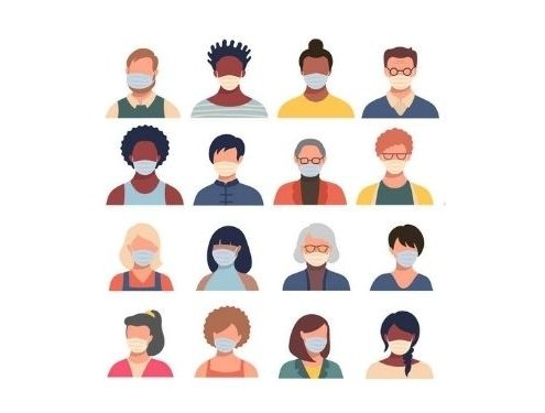 Vector set of persons, avatars, people heads of different ethnicity and age in protective masks. Men and women in flat style following recommendations for the prevention of coronavirus. (Vector set of persons, avatars, people heads of different ethnic backgrounds)