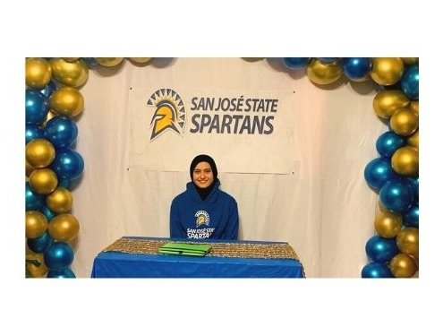 Danna Restom, online university prep student, smiles while celebrating her appointment to the San Jose State Spartans soccer team